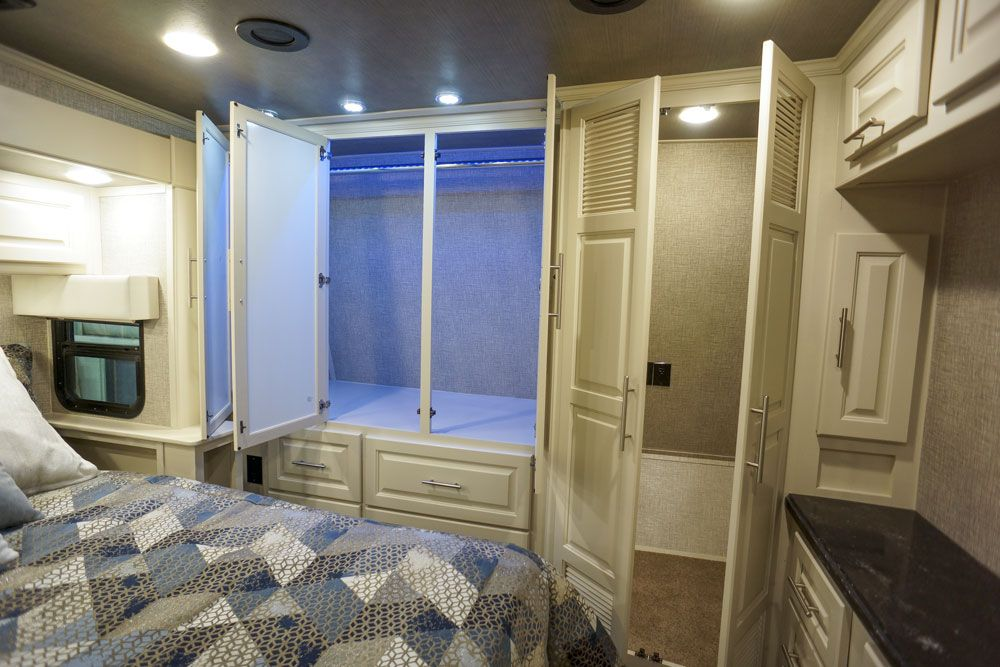 Luxury toy hauler bedroom closet