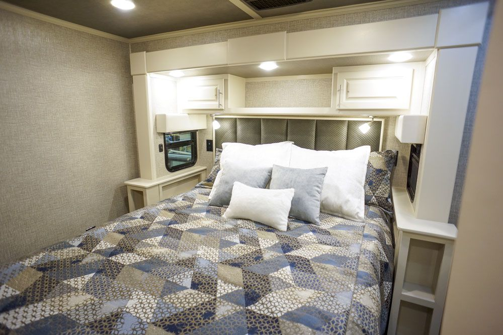 Luxury toy hauler bedroom master bed