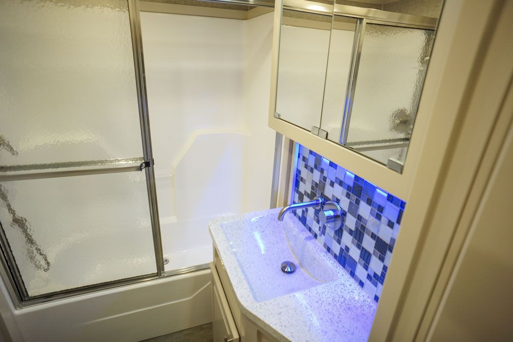Luxury toy hauler master bath