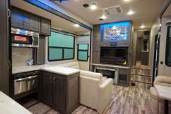 toy hauler warrior gray cabinets
