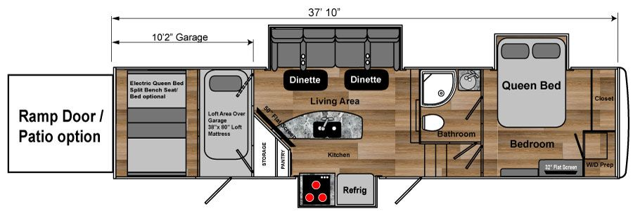 3608W weekend warrior toy hauler 5th wheel floorplan