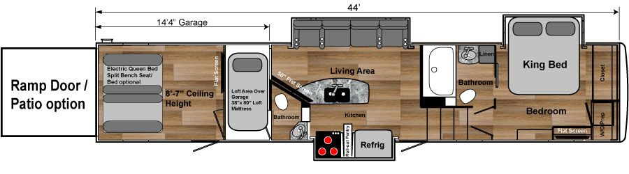 4100W weekend warrior toy hauler 5th wheel floorplan