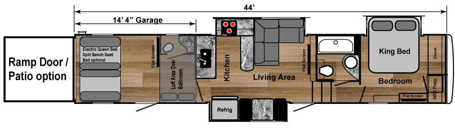 Choose Your Floor Plan(*). 4250W   $79,999 Toy Hauler 44 Foot Fifth Wheel