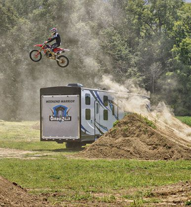 toy hauler fifth wheel large garage dirt bikes