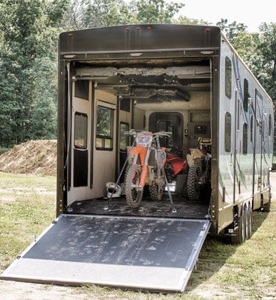 toy hauler fifth wheel large garage dirt bikes in garage