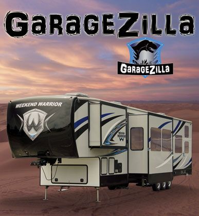toy hauler fifth wheel large garage front